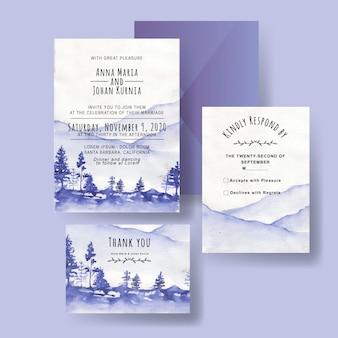 Um conjunto de convites de casamento de inverno aquarelas montanha