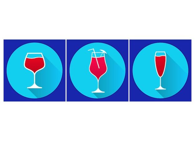 Um conjunto de copos com coquetéis alcoólicos