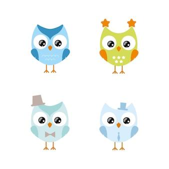 Um conjunto de corujas fofas para crianças. ilustração infantil de uma coruja para um menino em um fundo branco e isolado. ilustrações planas do vetor. design de logotipos, têxteis, cartões postais, roupas, papel para embalagem.