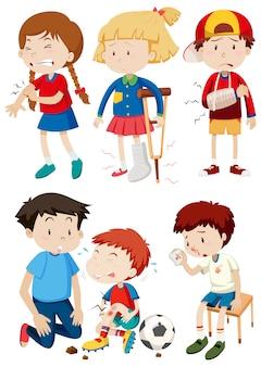 Um conjunto de crianças e acidentes
