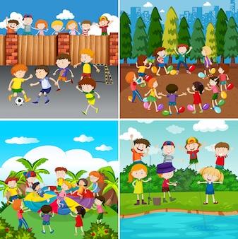 Um conjunto de crianças e atividade