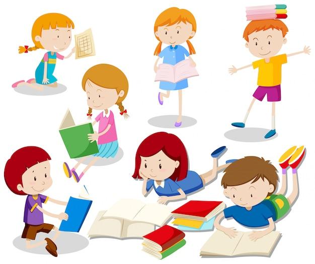 Um conjunto de crianças lendo livro
