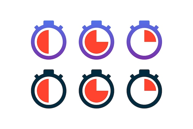 Um conjunto de cronômetro. 30 segundos, 45 segundos, 15 segundos