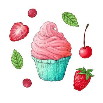 Um conjunto de cupcake de cereja morango. desenho à mão.