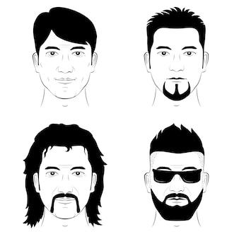 Um conjunto de desenho de rostos humanos com bigode e barba de penteados diferentes.