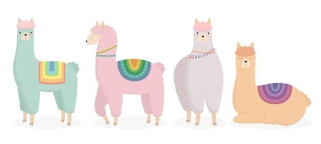 Um conjunto de desenhos animados de lhamas alpacas