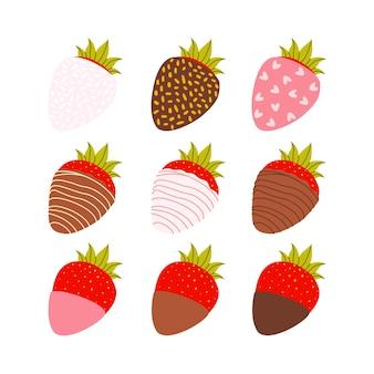 Um conjunto de desenhos animados de vetor plana de morangos cobertos com leite, chocolate escuro e rosa.