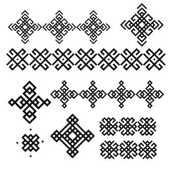 Um conjunto de desenhos geométricos em preto e branco