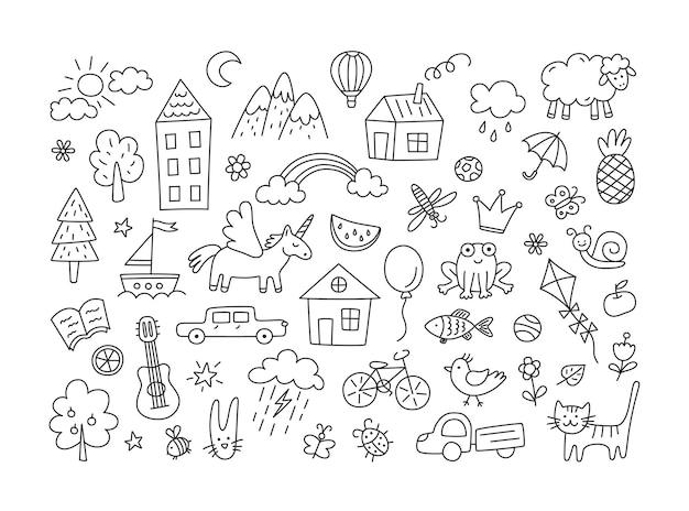 Um conjunto de desenhos infantis. doodle de criança. sol nas nuvens, flores e árvores de verão, casas pintadas, gato bonito e outros elementos brancos pretos.