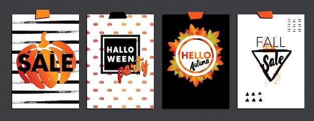 Um conjunto de designs para cartões postais de outono e halloween
