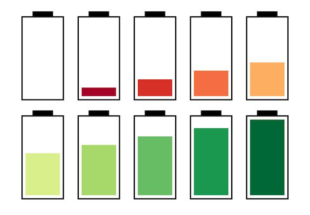 Um conjunto de dez baterias com diferentes indicadores de carga. ilustração vetorial