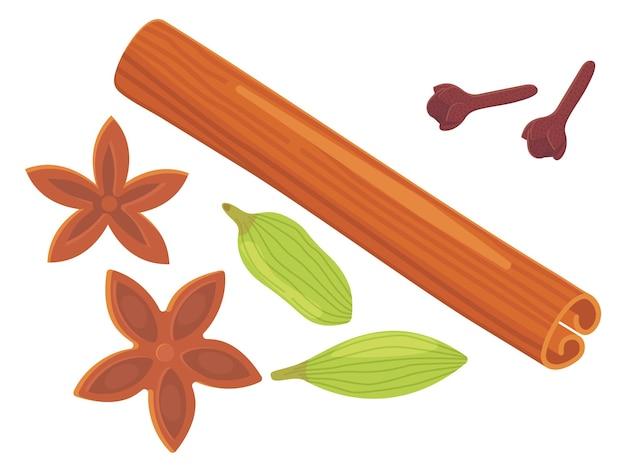 Um conjunto de diferentes especiarias, ervas e temperos. cravo em pau de canela, anis estrelado e cardamomo