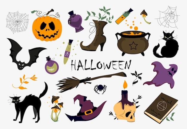 Um conjunto de diferentes ilustrações vetoriais para o halloween. clipart em um fundo branco.