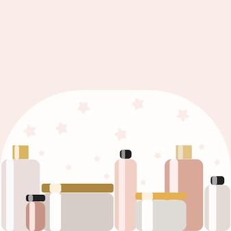 Um conjunto de diferentes recipientes e potes para cremes e perfumaria. plano de fundo para linha de novos cosméticos