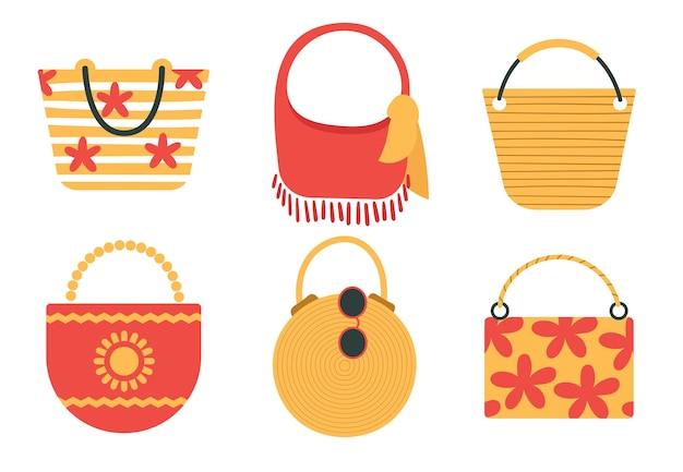 Um conjunto de divertidas bolsas de praia. acessórios para as férias de verão à beira-mar.