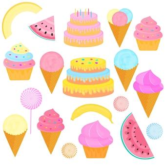 Um conjunto de doces. bolo de aniversário com velas, sorvete em casquinha de waffle, pirulito, bolinho, fatias de melancia, melão, banana