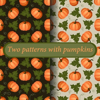 Um conjunto de dois padrões coloridos brilhantes. frutos maduros de abóbora com folhas. dia de ação de graças. vetor.