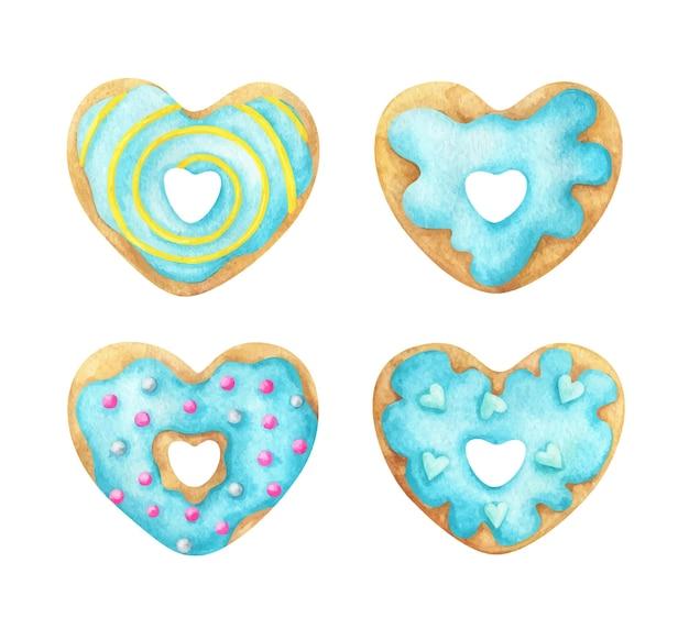 Um conjunto de donuts em forma de coração com cobertura azul