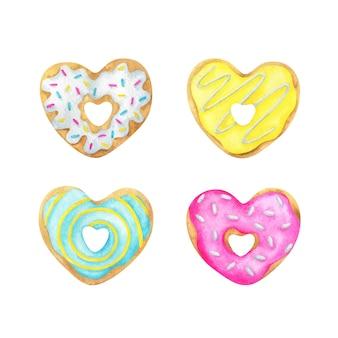 Um conjunto de donuts em forma de coração com cobertura colorida