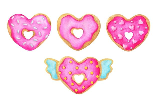 Um conjunto de donuts em forma de coração com glacê rosa