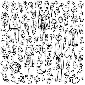 Um conjunto de doodle coelho, raposa, ovelha, furão, panda com lenços de malha e blusas de inverno quente, rodeado de folhas, galhos, cogumelos e outros elementos. ilustração a preto e branco