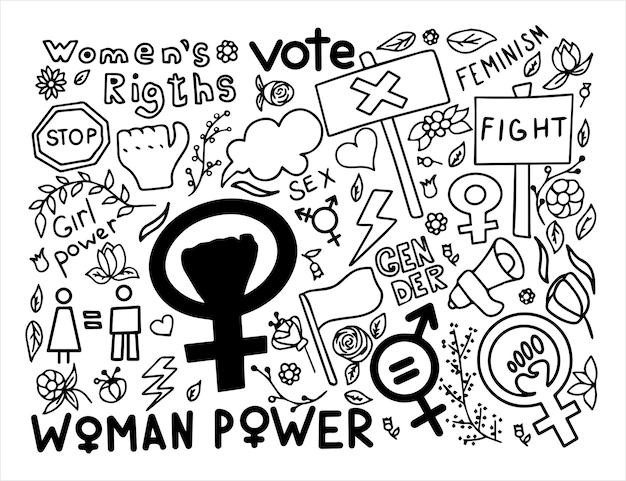 Um conjunto de doodle sinais de feminismo direitos das mulheres grunge mão desenhada ícones vetoriais de protesto feminismo ...