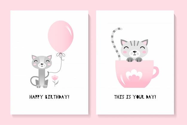 Um conjunto de duas cartas com um gato bonito. feliz aniversário