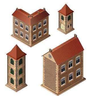 Um conjunto de edifícios medievais isométricos em um fundo branco