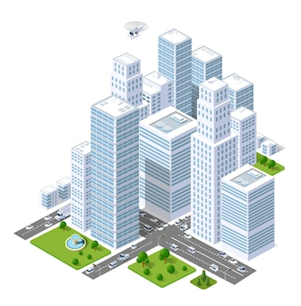 Um conjunto de edifícios urbanos, arranha-céus, casas, supermercados, estradas e ruas.