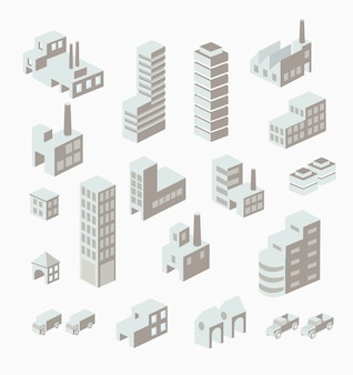Um conjunto de edifícios urbanos e industriais no isométrico