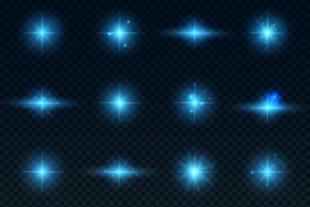 Um conjunto de efeitos de luz estrelas brilhantes