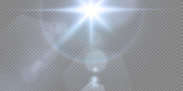 Um conjunto de efeitos de neon ou azul light glow flare stars