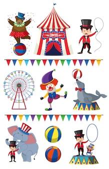 Um conjunto de elemento de circo