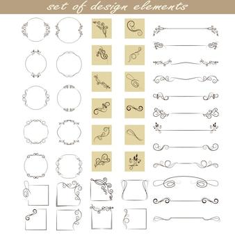 Um conjunto de elementos de design, molduras, divisores, bordas.