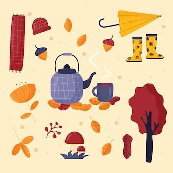 Um conjunto de elementos de outono aconchegantes, um guarda-chuva, um bule de chá, folhas de outono, uma abóbora flatstyle Vetor Premium