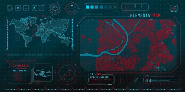 Um conjunto de elementos finos no tópico de pesquisa no mapa