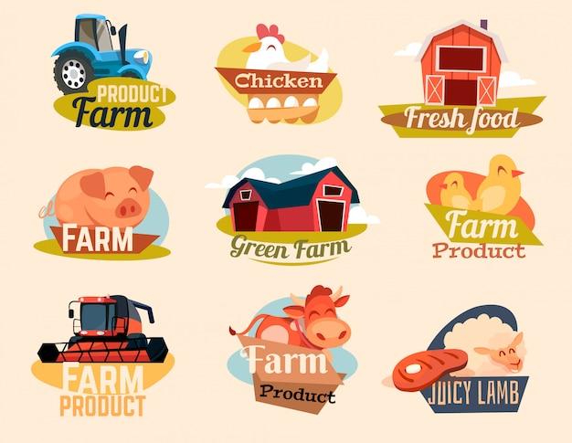 Um conjunto de emblemas de fazenda dos desenhos animados. ilustração em vetor de uma fazenda.