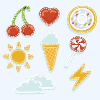 Um conjunto de emblemas de remendo de desenhos animados peculiares ou emblemas de alfinetes da moda