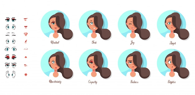 Um conjunto de emoções femininas