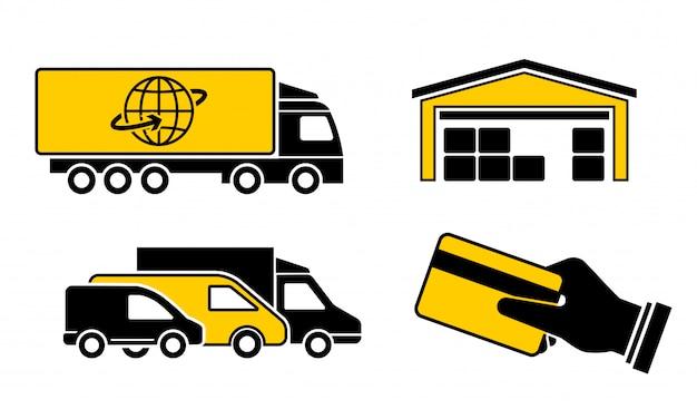 Um conjunto de entrega de carga de ícones, caminhão, minivan, bens de armazém e compra, mão segurando o cartão de crédito.