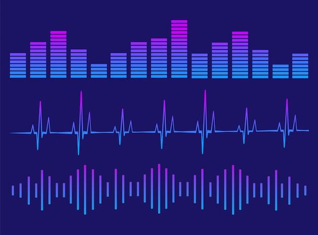 Um conjunto de equalizadores. equalizador para leitor de música.