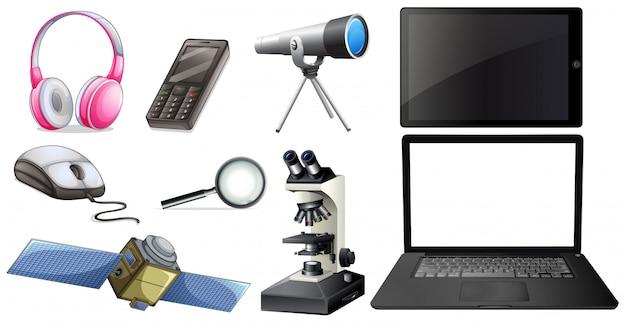 Um conjunto de equipamentos de tecnologia