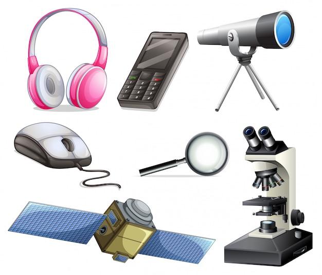 Um conjunto de equipamentos tecnológicos