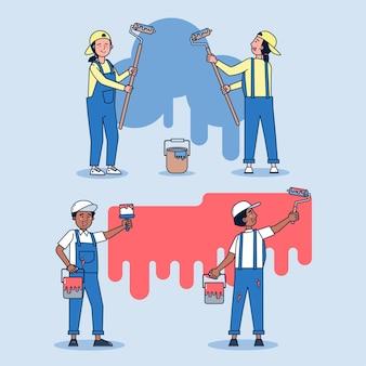 Um conjunto de equipe de pintores