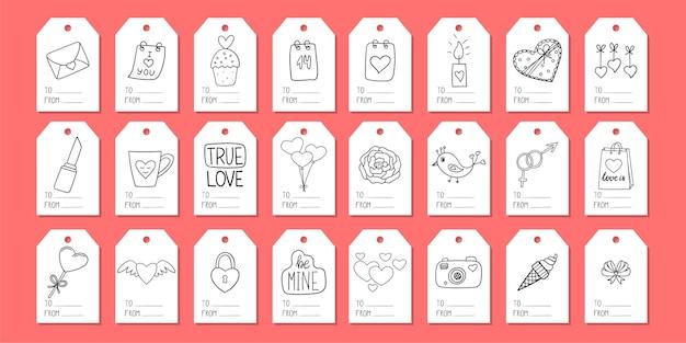 Um conjunto de etiquetas de presente com elementos do doodle. dia dos namorados
