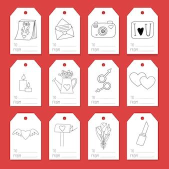 Um conjunto de etiquetas para embrulho com elementos sobre o tema dia dos namorados