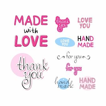 Um conjunto de etiquetas para produtos artesanais. feito com amor, obrigado, feito à mão. letras bordadas à mão.