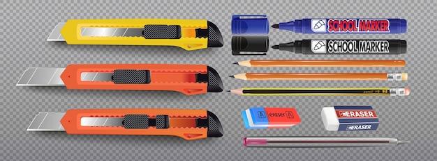 Um conjunto de facas de papelaria realistas