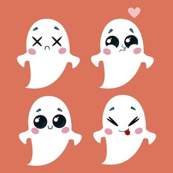 Um conjunto de fantasmas fofos com emoções diferentes. ilustração em vetor de um personagem de halloween