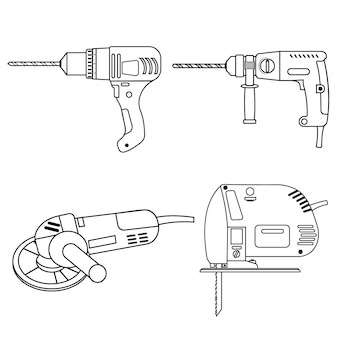Um conjunto de ferramentas de construção, broca, moedor de serra de vaivém e contorno preto perfurador.